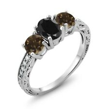 2.11 Ct Oval Black Sapphire Brown Smoky Quartz 925 Sterling Silver Ring