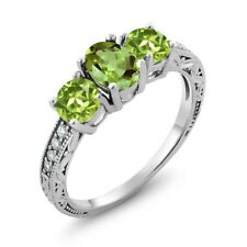 1.92 Ct Oval Green Peridot 925 Sterling Silver Ring