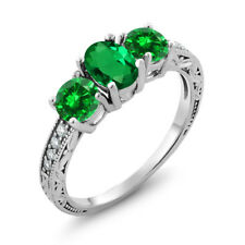 2.40 Ct Oval Simulated Emerald Simulated Emerald 925 Sterling Silver Ring