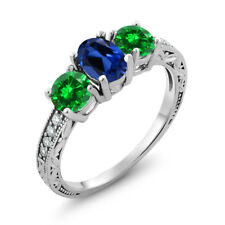 2.70 Ct Blue Simulated Sapphire Green Simulated Emerald 925 Sterling Silver Ring