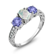 1.67 Ct Oval White Simulated Opal Blue Tanzanite 925 Sterling Silver Ring