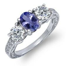 1.87 Ct Oval Blue Tanzanite I/J Diamond 925 Sterling Silver Ring