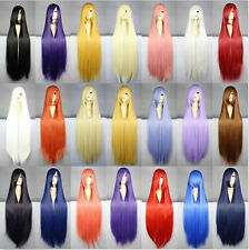 """Fashion! 40""""/100CM New Women Long Straight Cosplay Party Wig 21 Colors+Wig Cap"""