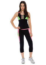 Ladies High Performance Fitness Exercise Set Capri Pants and Tank Top