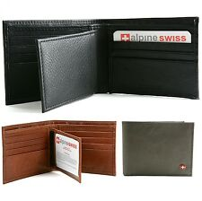 Men's Leather Wallet By Alpine Swiss Multi Card High Capacity Compact Bifold New