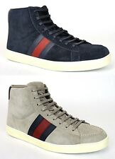 New Authentic Gucci Mens Suede High-top Sneaker w/BRB Leather Web Detail, 337221