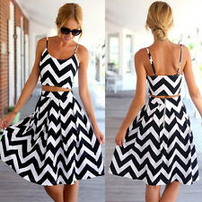 Sexy Women's Boho Striped Wave Strappy Summer Holiday Casual Beach Dress Suit