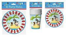 10 x Childrens  Birthday Party Boys Blue Pirate Design Plates Bowls Cups Napkins