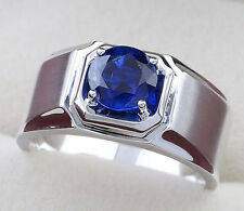 Size 9-12 NICE Jewelry Mens 925 Silver Round Blue Sapphire Band Ring NOT Fade