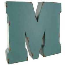 Small Blue , Brown, Red Metal Letter - M.Vintage Look. Free Standing home decor