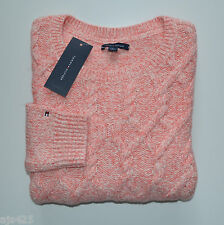 NWT Women's Tommy Hilfiger Cozy Cable Pullover Sweater, Orange, White, S M L