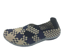 Ladies Shoes Wild Sole Lila Slip On Elastic Shoe Beige/Navy Flats Size 6-10
