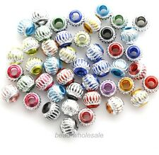100pcs Mixed Color Aluminium Engraved Loose Bead Spacer Beads 6mm/8mm/10mm