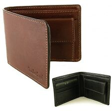 Timberland Mens Bifold Leather Wallet Coin Pouch Pocket Purse 2 Bill Sections