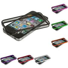 Color TPU Bumper Frame Rubber Case Cover with Metal Buttons for iPhone 4 4G 4S