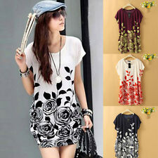Summer Women Print Tee Short Sleeve Floral Casual T-Shirt Long Loose Blouse Tops