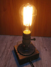Single Socket Wooden Base Bedside Table Desk Lamp Light Retro Industrial Style