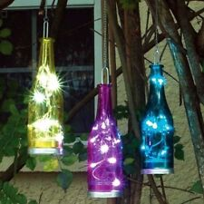 Colorful Fiesta Hanging Glass Bottle, 3 AAA batteries, timer, 3 brilliant colors