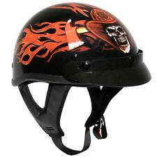 Firefighter DOT Shorty Half Motorcycle Helmet Fireman Firemen Volunteer Flames