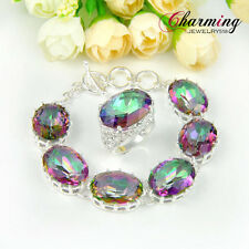 Nice Jewelry Set Stunning Rainbow Fire Mystical Topaz Gems Silver Bracelet Ring