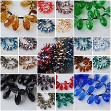 30Ps 10x20mm Teardrop Charm Faceted Pendant Glass Crystal Spacer Beads Findings