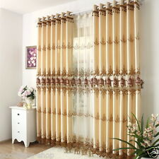 Customize curtain embroidery floral blackout lining curtain tulle pleated drapes