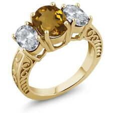 3.30 Ct Oval Whiskey Quartz White Topaz 18K Yellow Gold Plated Silver Ring
