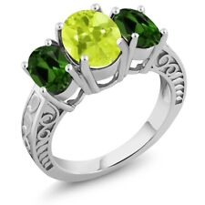 3.25 Ct Oval Yellow Lemon Quartz Green Chrome Diopside 925 Sterling Silver Ring