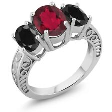 3.94 Ct Oval Red Mystic Quartz Black Sapphire 925 Sterling Silver Ring