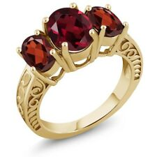 3.80 Ct Oval Red Rhodolite Garnet Red Garnet 18K Yellow Gold Plated Silver Ring