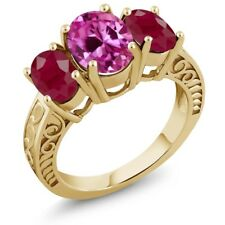 4.44 Ct Oval Pink Created Sapphire Red Ruby 18K Yellow Gold Plated Silver Ring