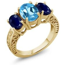 3.84 Ct Oval Swiss Blue Topaz Blue Sapphire 18K Yellow Gold Plated Silver Ring