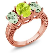 3.15 Ct Oval Yellow Lemon Quartz Green Amethyst 18K Rose Gold Plated Silver Ring