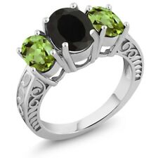 3.60 Ct Oval Black Onyx Green Peridot 925 Sterling Silver Ring