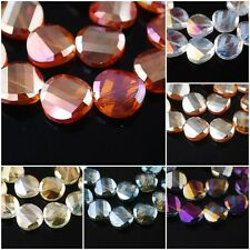 10/20Ps Charms Faceted Glass Crystal Tile Twist Helix Spacer Beads Findings 18mm