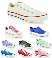 KIDS JUNIOR CONVERSE ALL STAR CANVAS LACE UP SKATE LO TOP SHOES TRAINERS SIZE