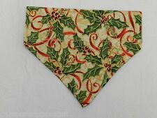 DOG CAT FERRET REVERSIBLE Over Collar Bandana~Christmas Holiday Holly Mistle Toe