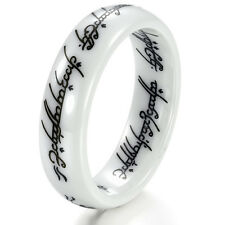 Vintage Lotr Ring White Ceramic Lord of The Rings Men/Womens Wedding Band Sz6-10