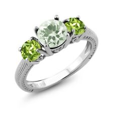 2.10 Ct Round Green Amethyst Green Peridot 925 Sterling Silver Ring