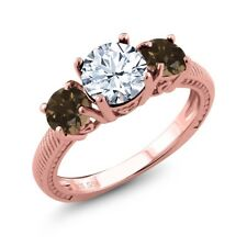2.32 Ct Round White Topaz Brown Smoky Quartz 18K Rose Gold Plated Silver Ring