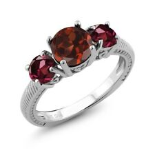 2.50 Ct Round Red Garnet Red Rhodolite Garnet 925 Sterling Silver Ring