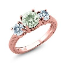 1.90 Ct Green Amethyst Sky Blue Aquamarine 18K Rose Gold Plated Silver Ring