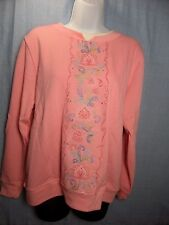 Shenanigans Fleece Pull Over Sweatshirt Women's Peony Pink Floral Embroidery