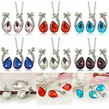 Charm Wedding Fashion Women Rhinestone Earrings Necklace Ear Crystal Jewelry Set