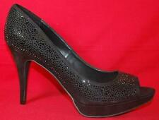 Women's FERGIE RUBY Black Rhinestone Peeptoe Platform High Heels Dress Shoes New