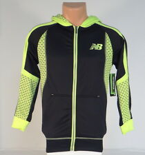 New Balance Black & Lime Zip Front Hooded Track Jacket Hoodie Youth Boys NWT