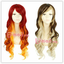 70cm Long Wave Red Fade Golden/Brown Fade Blonde Womens Fashion Wig FL40
