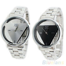 Men's Girl's Wrist Watch Quartz Stainless Steel Band Triangle Dial Hot Selling