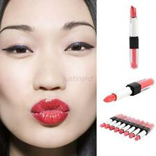 2 in1 Sexy Gloss Lip Makeup Long Lasting Lipstick Lip Rouge Pencil+Lip Gloss Set
