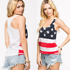Fashion USA FLAG Summer Vest Top Sleeveless Blouse Casual Tank Tops Tee T Shirt